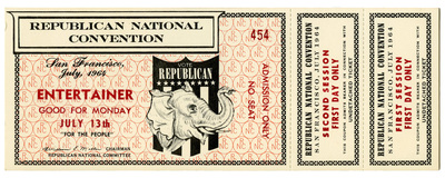 Admission ticket: Republican National Convention, San Francisco, CA, July 13, 1964
