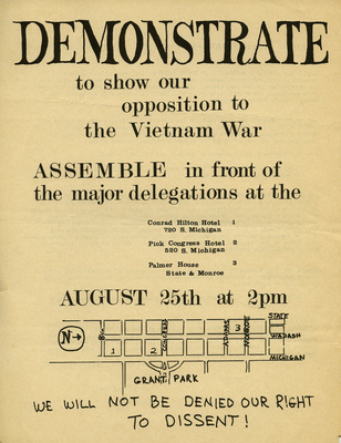 Demonstrate to show our opposition to the Vietnam War, 1968
